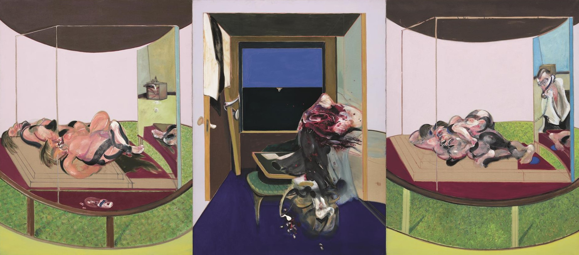 Francis Bacon, Triptych inspired by T.S Eliot's poem, Sweeney Agoniste, 1967. © The Estate of Francis Bacon /All rights reserved / Adagp, Paris and DACS, London 2019